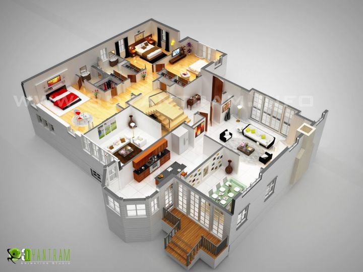3d Home 3d Luxurious Residentetial Floor Plan Design By Rachana Desai