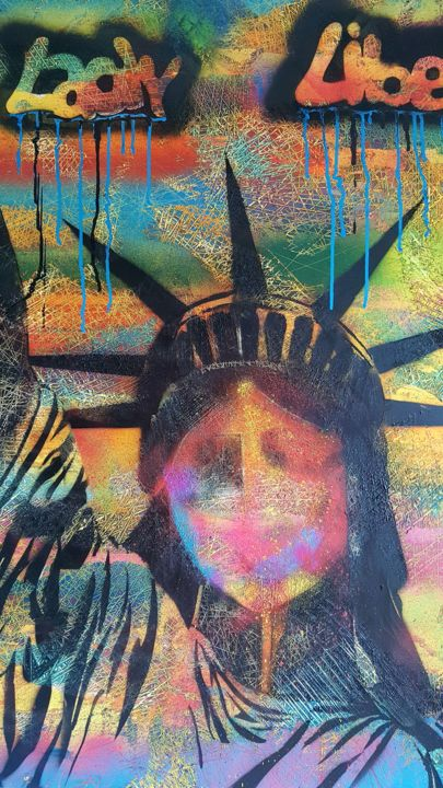 Tableau Vache Pop Art Lady Liberty 100x100 Cm Painting By Sonia Michel Artmajeur