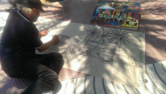 Artist John Colley at work in Santa Eulalia, Ibiza