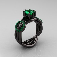 Modern Bridal 14K Black Gold 1.0 CT Emerald Designer ...