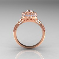 Modern Antique 14K Rose Gold Cubic Zirconia Diamond ...