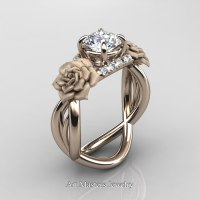 Nature Inspired 14K Rose Gold 1.0 Ct White Sapphire ...