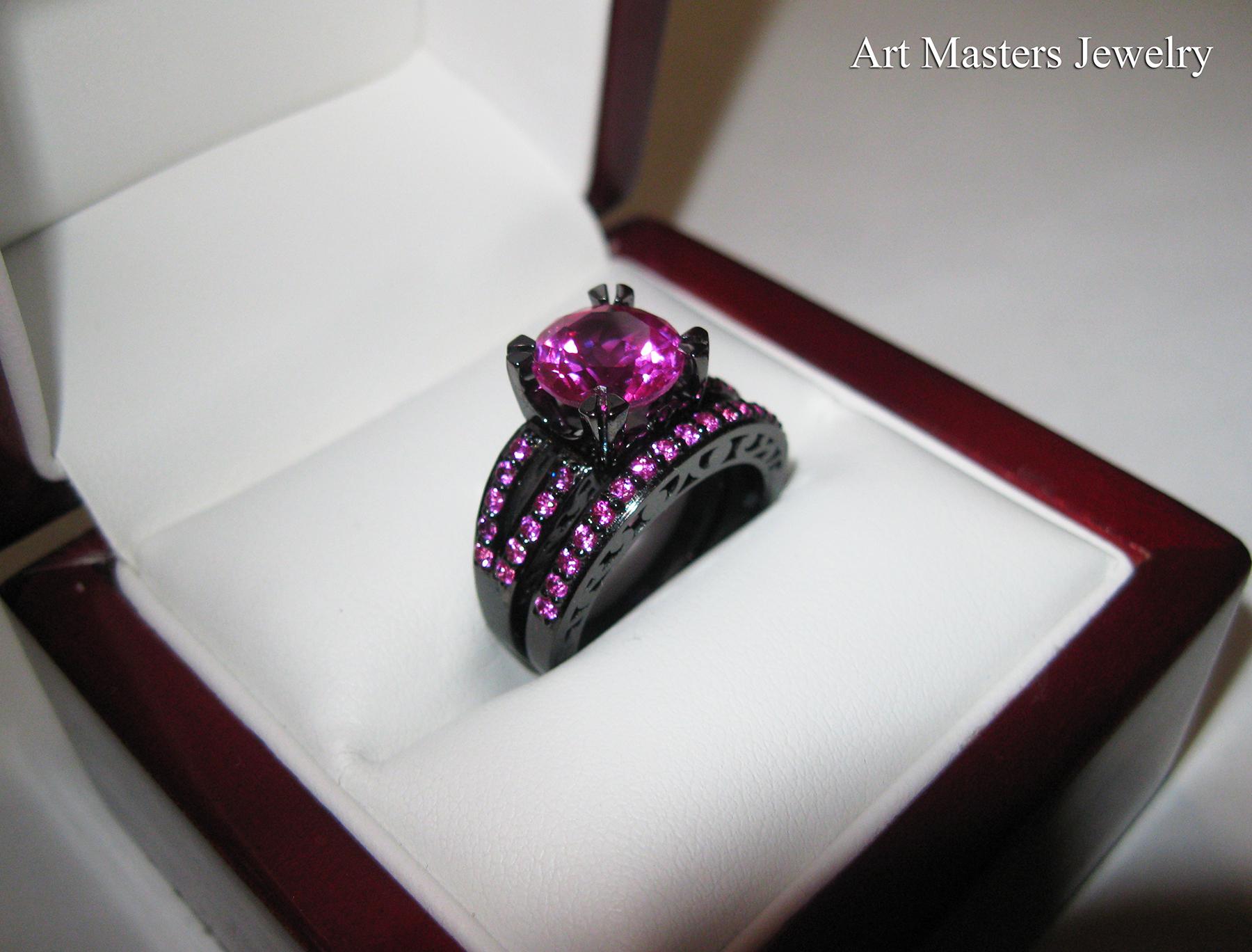 wedding ring sets modern vintage 14k black gold download - Black Gold Wedding Ring Sets