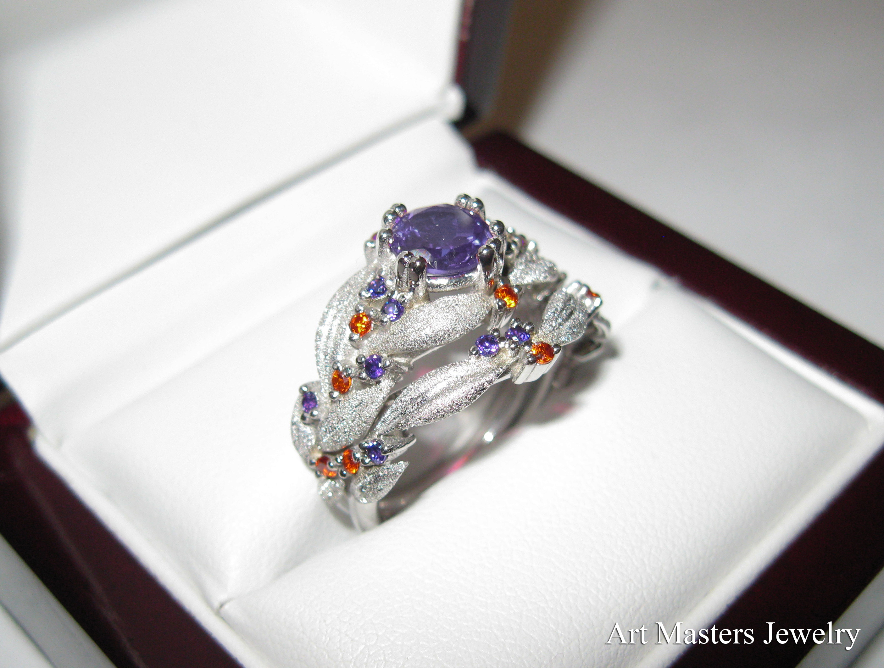 artmastersjewelry wordpress sapphire mens wedding band Nature Classic 14K White Gold 1 0 Ct Lavender Amethyst Orange Sapphire Leaf Vine Engagement Ring Wedding