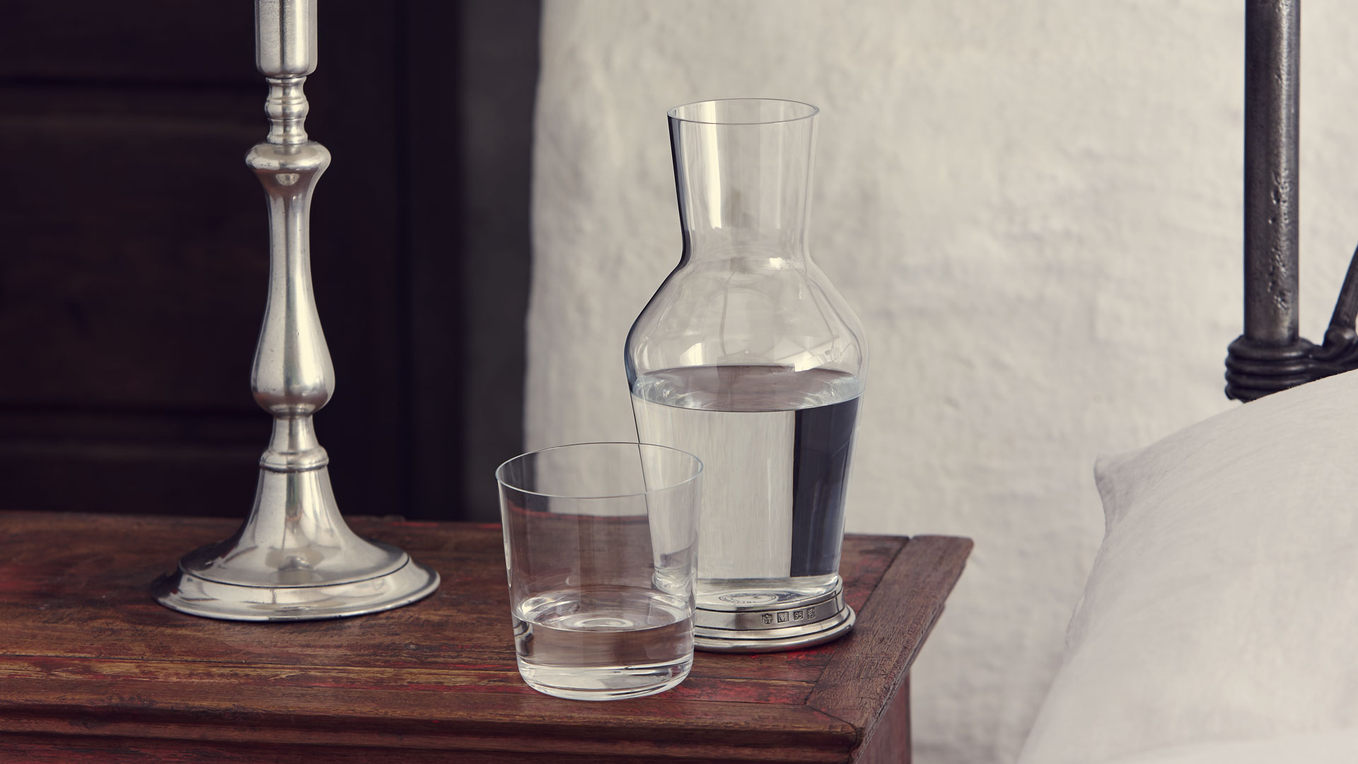 Bedside Water Carafe And Glass Bedside Carafe 43 Glass Grey Pewter And Lead Free Crystal
