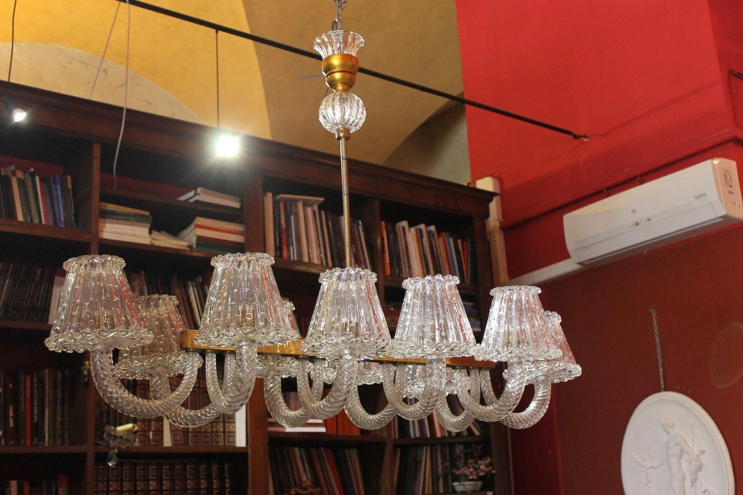 Barovier E Toso Italian Design Murano Clear Glass Ten Arms Chandelier 1940s