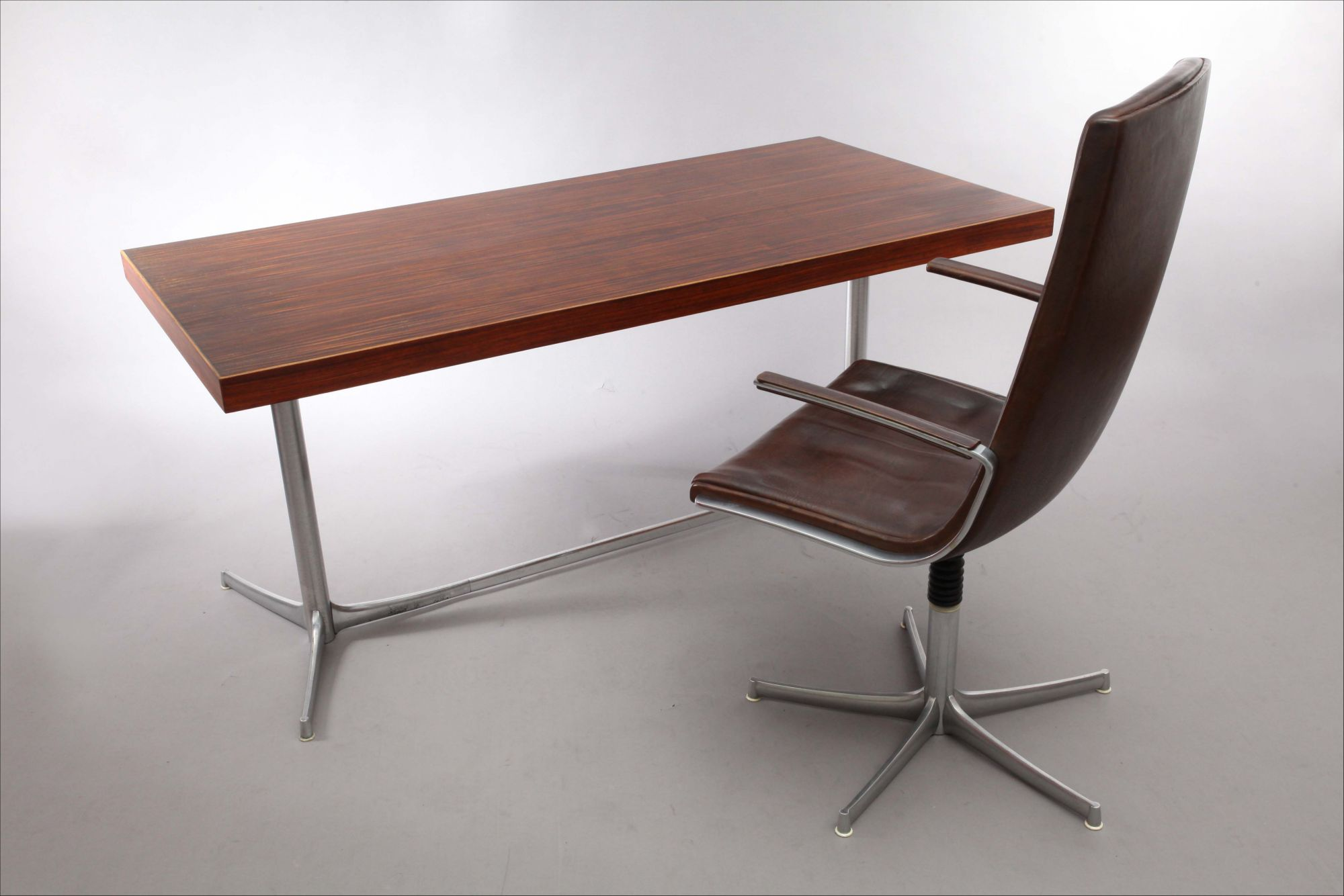 Knoll International Writing Desk With Brown Leather Armchair Knoll International