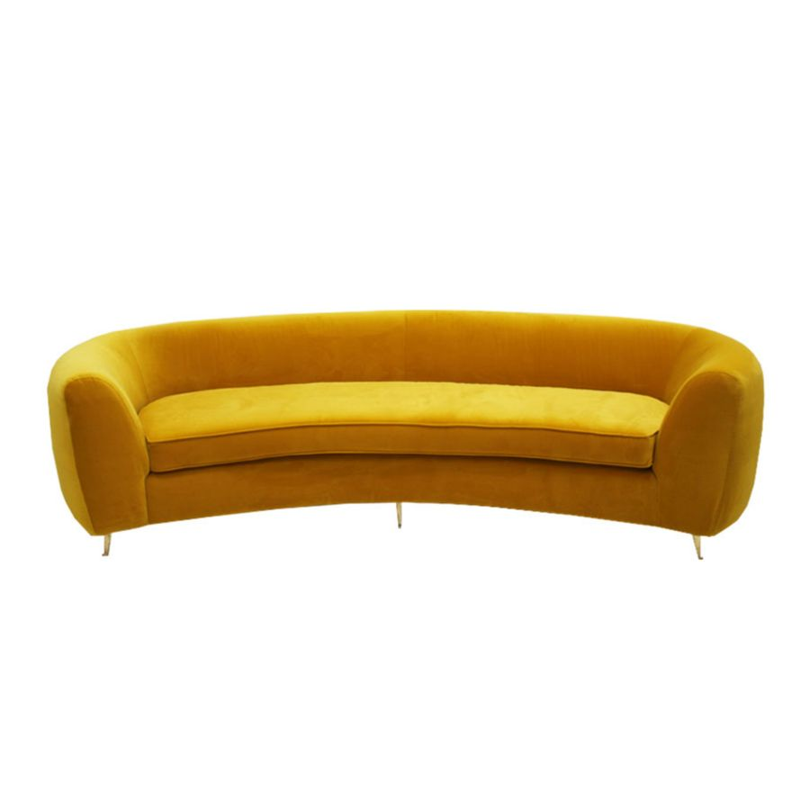 L A Studio Contemporary Yellow Cotton Velvet Curved Italian Sofa