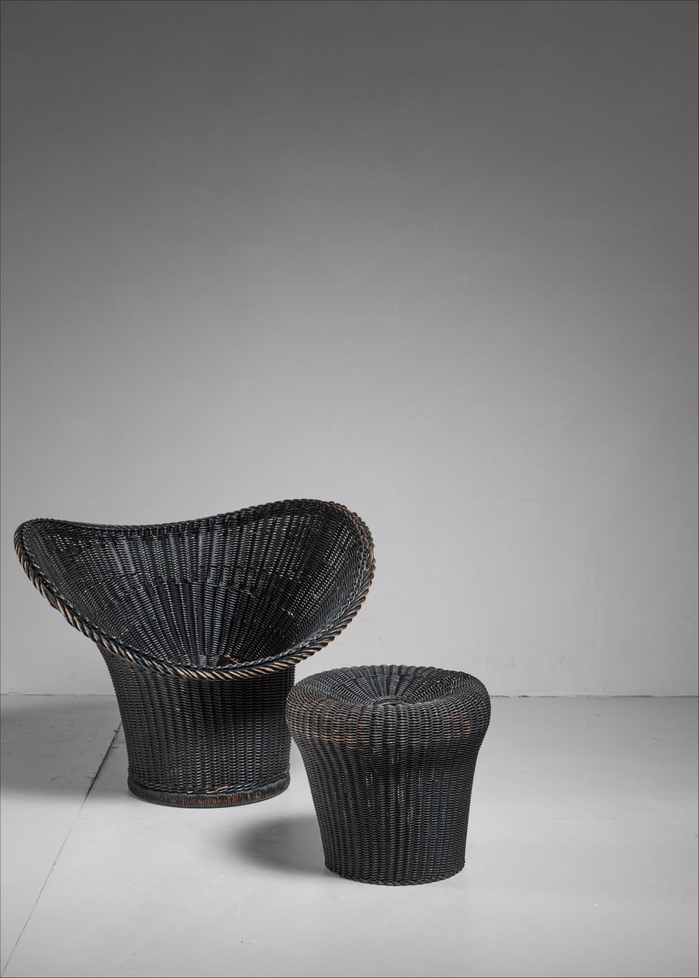 Rattan Korbsessel Egon Eiermann Korbsessel Chair And Stool Germany 1958