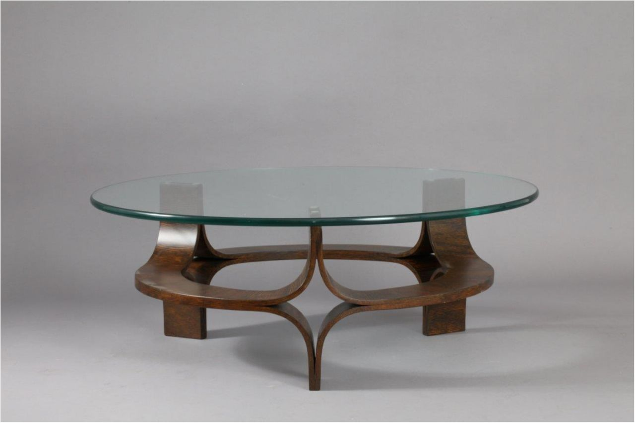 Round Glass Top Coffee Table Round Walnut Mid Century Modern Sculptural Bentwood Glass Top