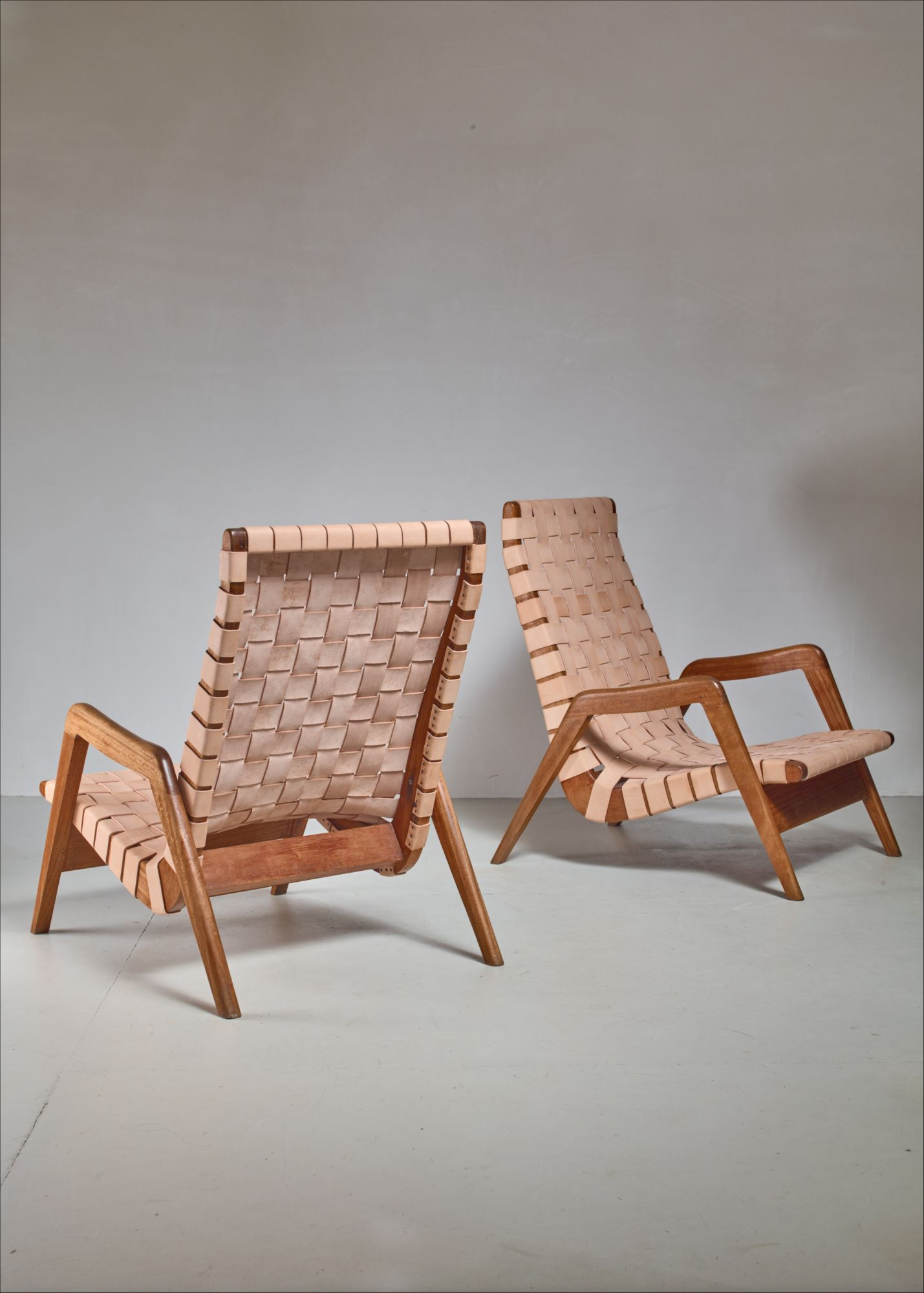 Mexican Rocking Chair Pair Of Mexican Lounge Chairs With Leather Webbing 1950s