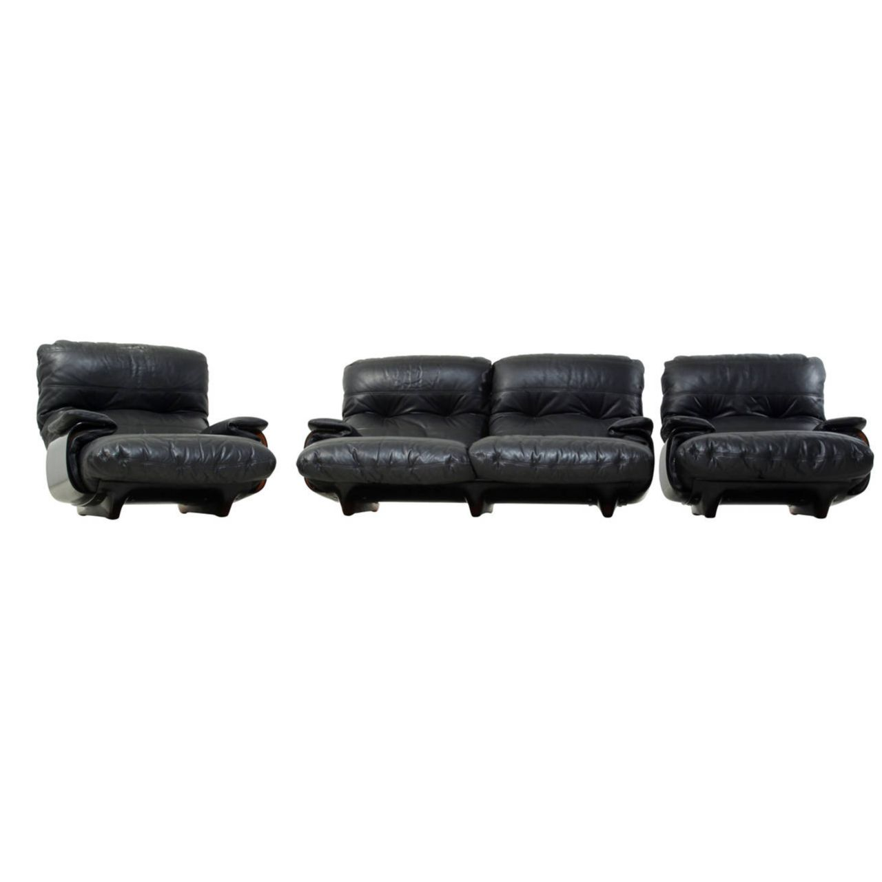 Ligne Roset Sofa Ducaroy Ligne Roset Sofa Set In Brown Perspex With Black Leather