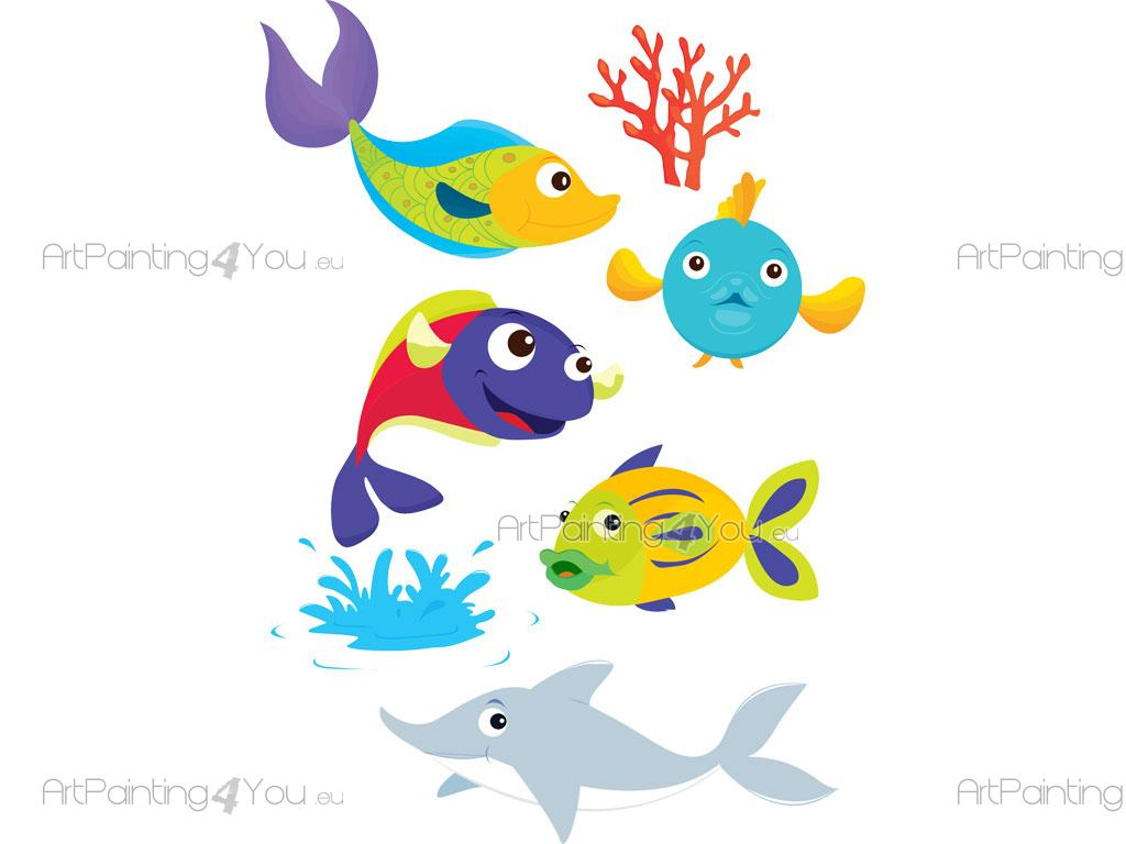 Wandtattoo Unterwasserwelt Wandtattoo Baby Fische Meerestiere Kit Artpainting4you Eu