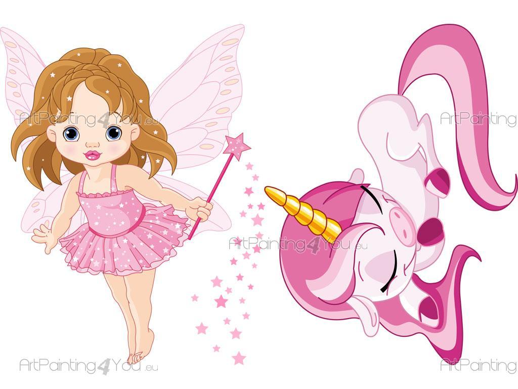 Cute Princess Cartoon Wallpapers Vinilos Bebe Ni 241 A Hadas Amp Unicornio Kit