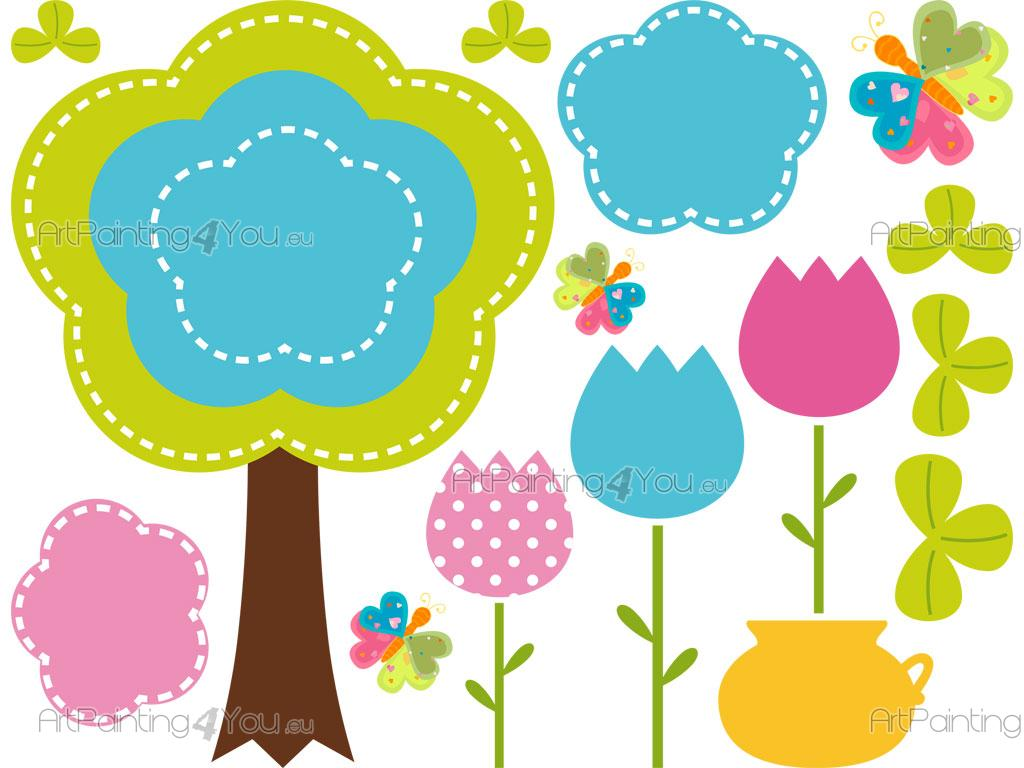 Dibujos Infantiles Para Decorar Vinilos Infantiles Flores And Mariposas Kit