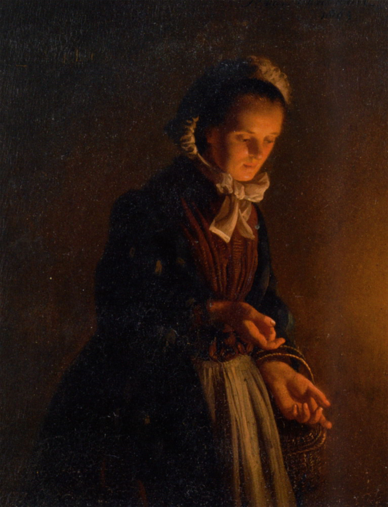Candle Light Painting A Servant Girl By Candle Light By Petrus Van Schendel