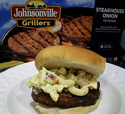 Johnsonville Grillers with Macoroni Salad Topping
