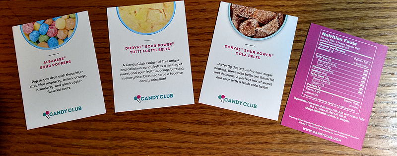 Candy Club Candy Information Cards