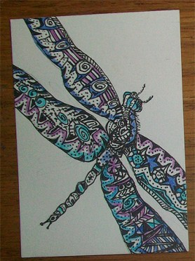 Zentangle Bug ATC - DragonFly