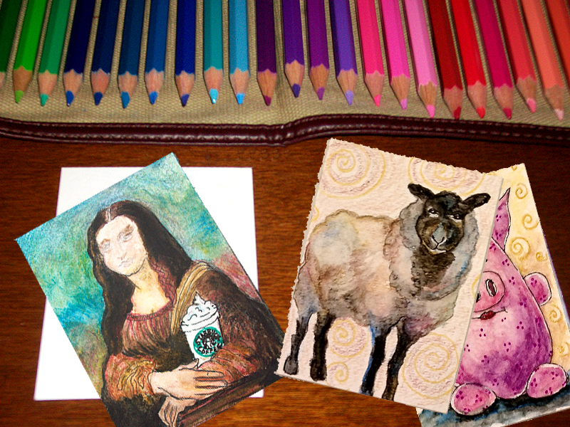 Using Watercolor Pencils to Make Artist Trading Cards