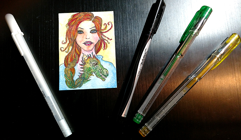 Add Detail to Watercolor Art with White Gelly Roll Pen and Glitter Gel Pens