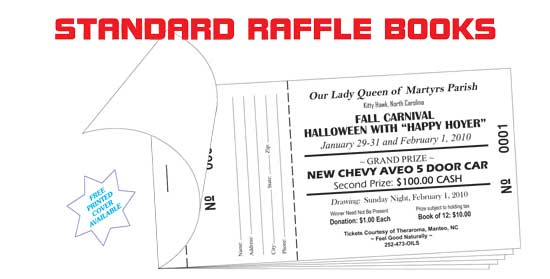 Raffle tickets  coupon books printers, wholesale prices