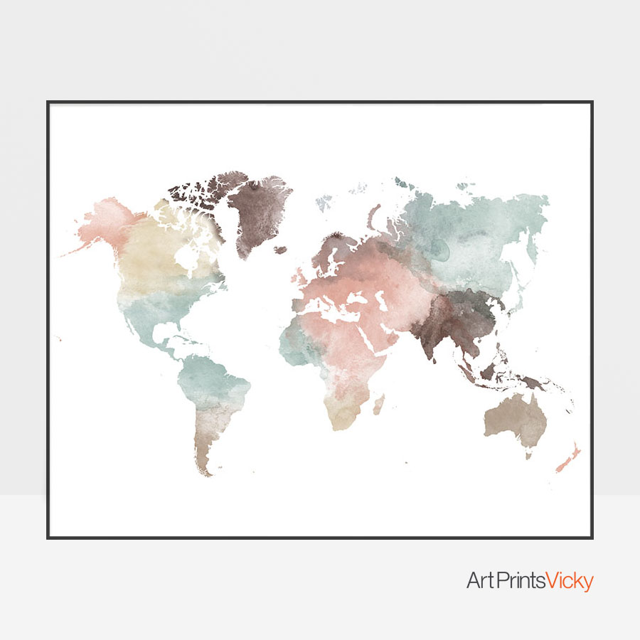 Wall Art Prints And Posters World Map Wall Art Pastel White Poster