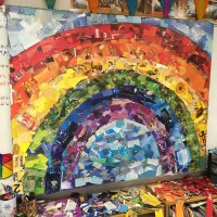 Giant Rainbow Collage  Art Projects for Kids