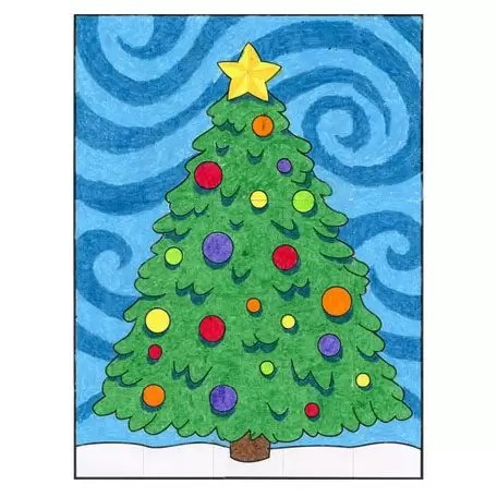 Starry Night Christmas Tree · Art Projects for Kids