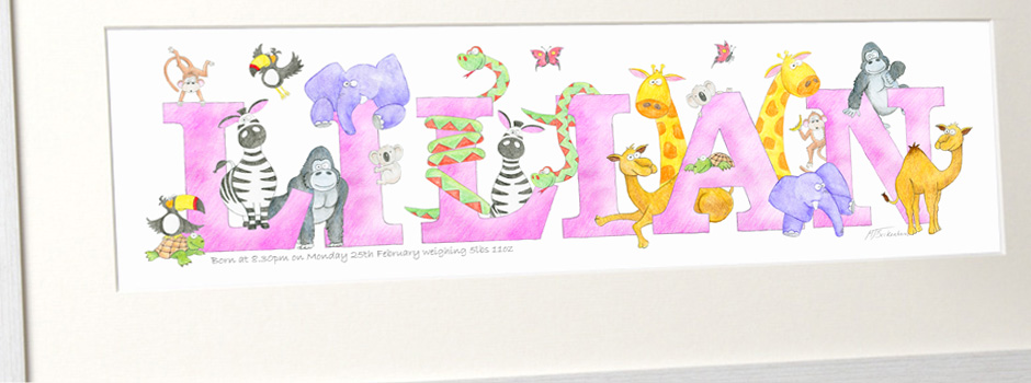 Baby Pen Animal Baby Name Paintings