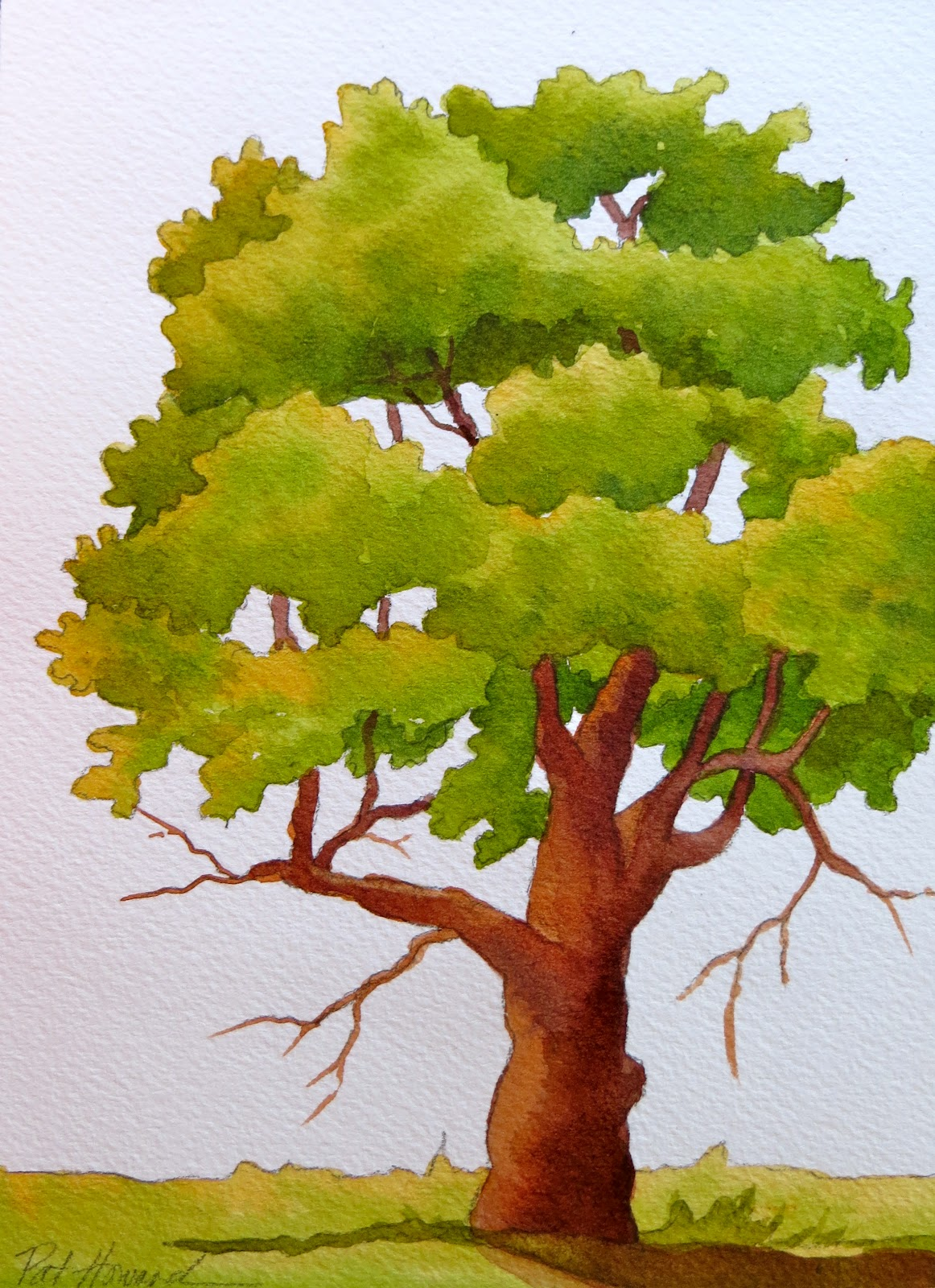 Tree Drawing With Watercolor Easy Tree Paintings