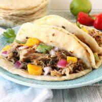 Chili Lime Mango Pork Carnitas Tacos Slow Cooker Recipe