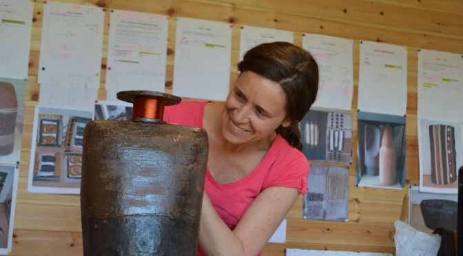 Sue Rossiter working on a sculpture