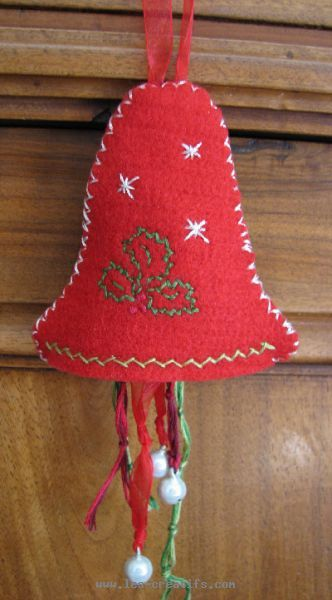 Acheter Bio Christmas Bell Made From Embroidered Felt