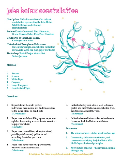 Free Constellation Making Lesson Plan Handout Art Sphere, Inc