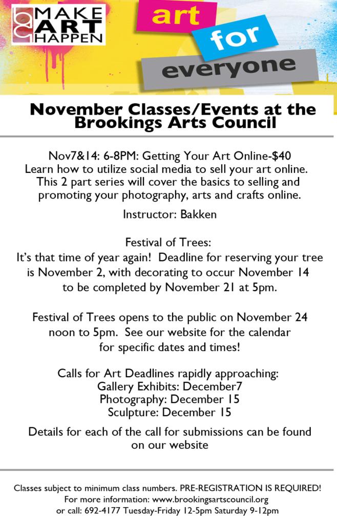November Classes and Events at the Brookings Arts Council - Arts