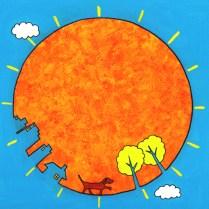 太陽と犬のイラスト