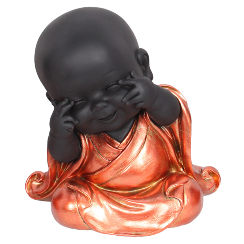 Inspirational Bathroom Accessories 1pce 20cm Bronze Robed Cute Fat Buddha Monk In See, Speak