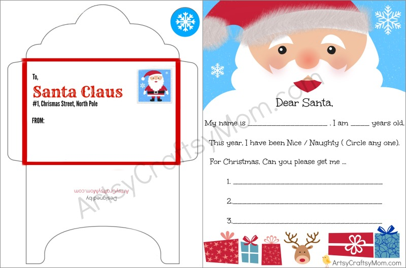 FREE Printable Letter to santa and Envelope for Children - Artsy - Santa Envelopes
