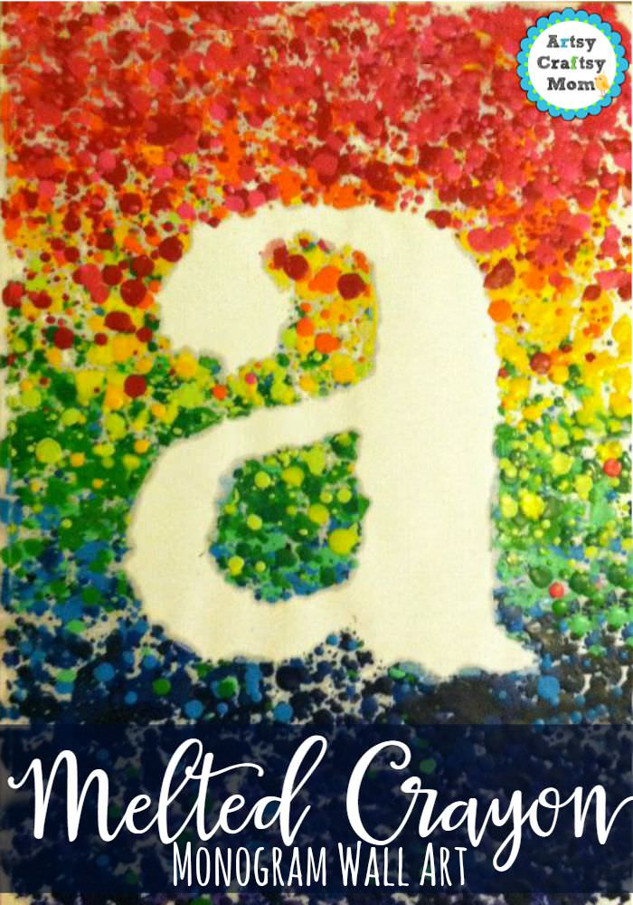 how to make a melted crayon monogram wall art