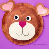 Paper Plate Teddy Bear Craft with Heart Shapes for ...