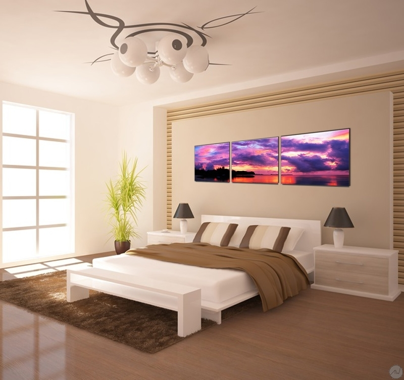 Decoration Murale Metal Design Tableau Paysage Ciel Violet - Artwall And Co