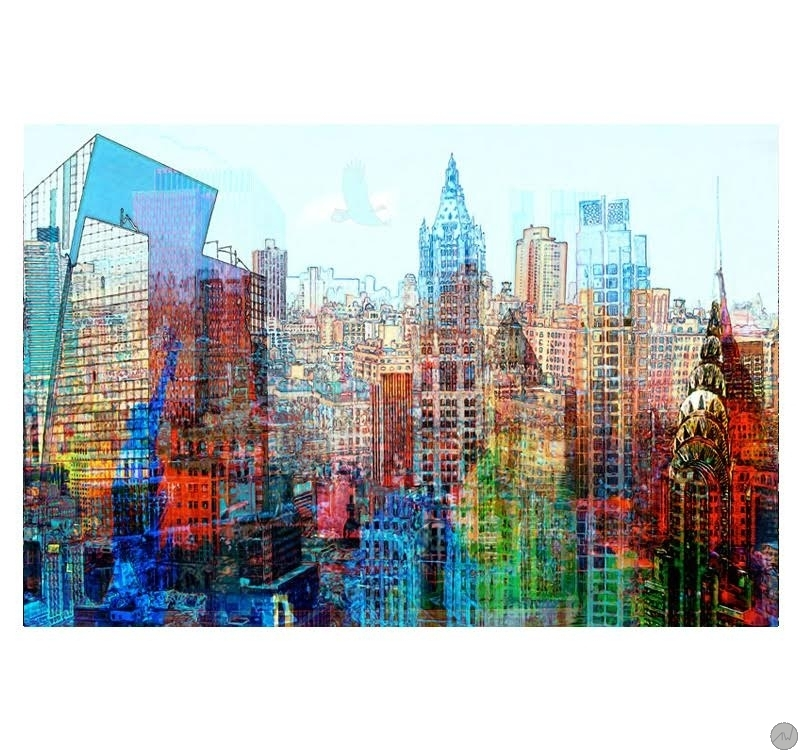 Pop Art Bilder Kaufen Tableau Pop Art Skyline Multicolore - Artwall And Co