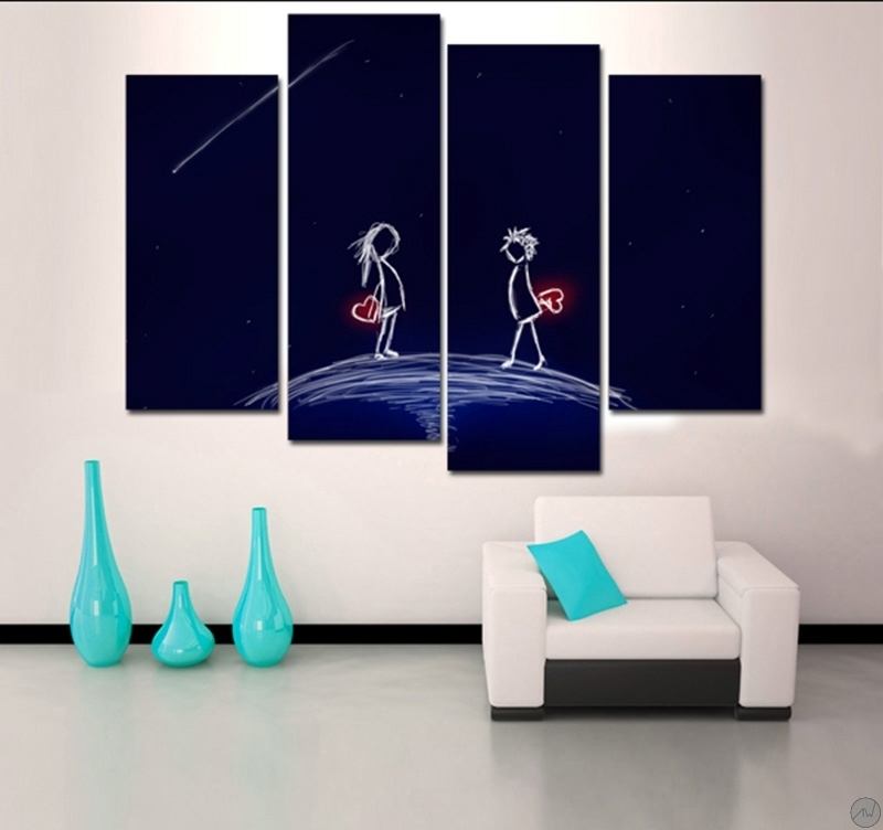 Decoration Murale Metal Design Tableau Romantique Love Life