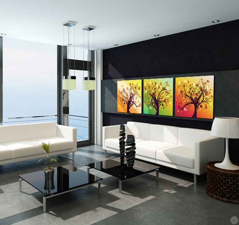 Tableau Mural Moderne Tableau Abstrait Happiness Tree