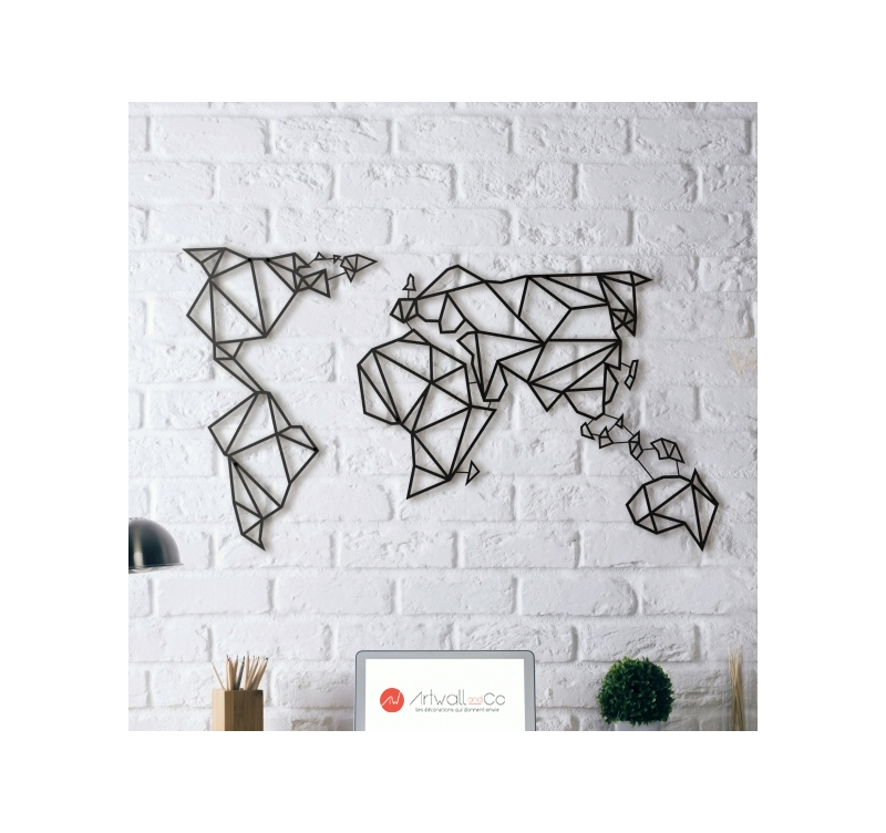 Decoration Murale Carte Du Monde Metal Wall Decoration World Map - Artwall And Co