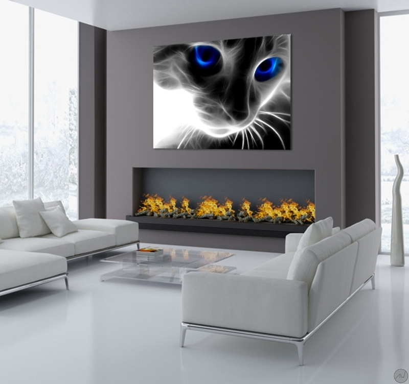 Decoration Murale En Verre Abstract Cat Modern Art Print - Artwall And Co