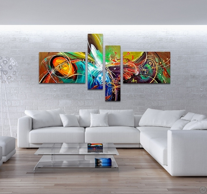 Grande Horloge Murale Originale Fireworks Modern Abstract Painting - Artwall And Co