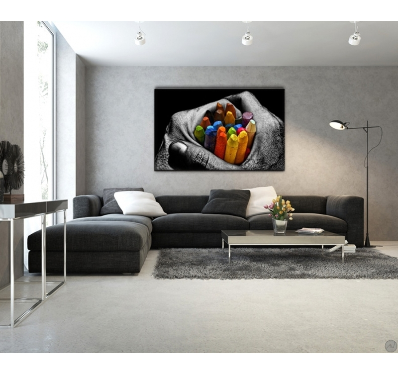 Grand Salon Pas Cher Tableau Design Crayons De Couleur - Artwall And Co