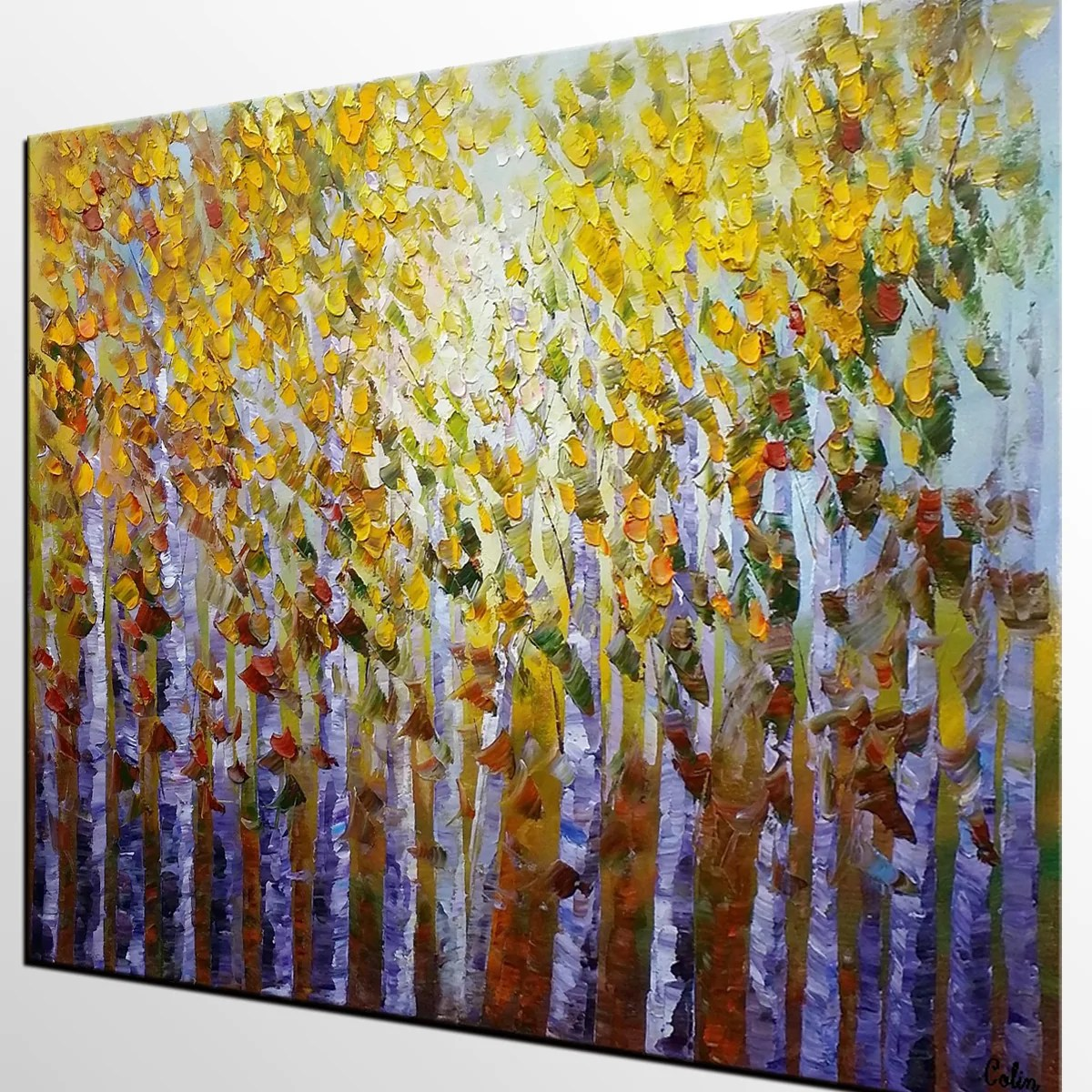 Bedroom Wall Art Trees Forest Tree Painting Landscape Painting Rustic Wall Art